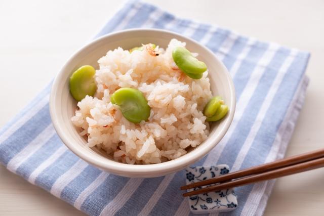 【帆立て入り そら豆ご飯】レシピ